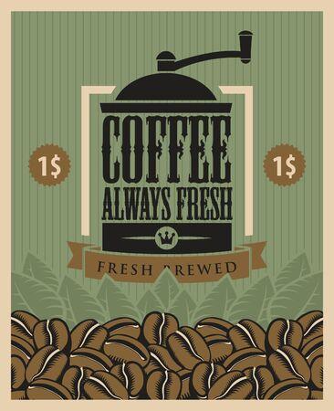 macinino caffè: banner con un macinino da caff� e fagioli