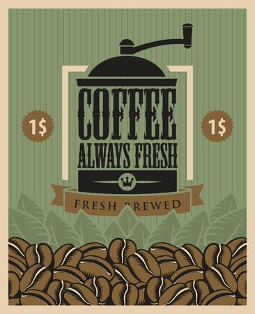 savor: banner with a coffee grinder and beans Illustration