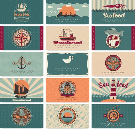 wind wheel: vector set of business cards on seafood Illustration