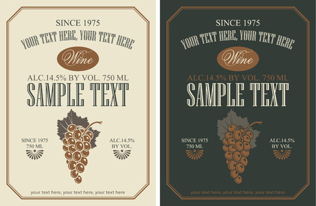 brandy: set of vector labels for wine with grapes