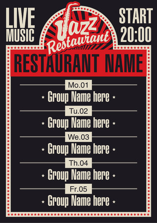live music: poster for a restaurant with live jazz music