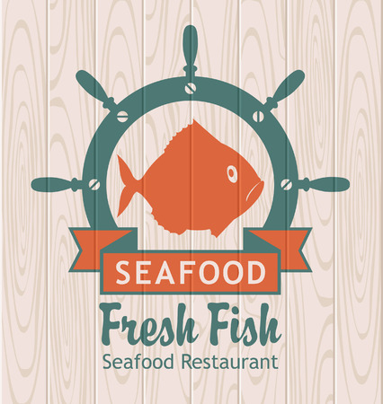 seafood background: banner for seafood. Pisces and for maritime helm on wooden planks background