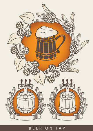 wreath of wheat: set of emblem for beers on tap with a wooden barrel and mug
