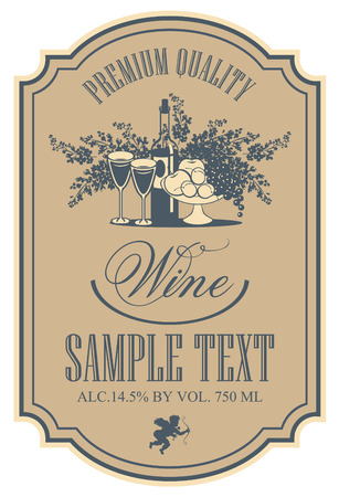 vintage frame: wine retro label with a still life of bottles, fruit and lilac