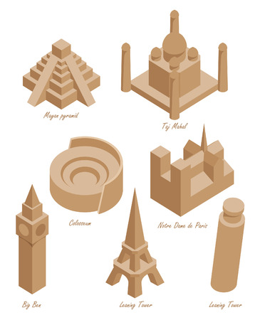 agra: set of schematic drawings of various architectural landmarks