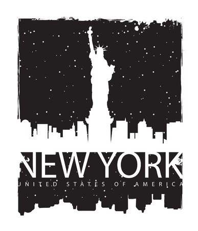 new york night: banner with of New York City, Statue of Liberty at night Illustration