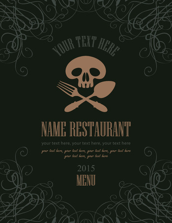 roger: menu with a picture Jolly Roger and cutlery