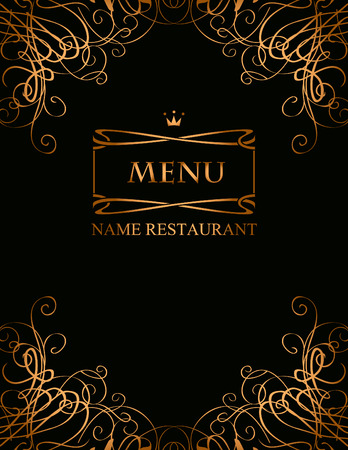 gold swirl: banner for the menu with curls on a black background Illustration