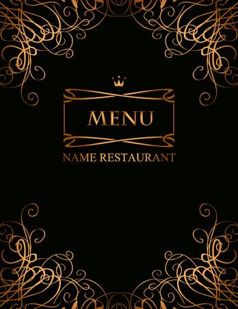 banner per il menu con riccioli su uno sfondo nero