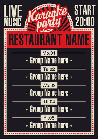 poster for a restaurant with karaoke and a schedule of performances
