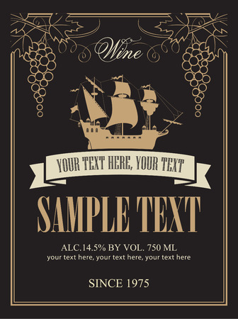 label for wine with a sailing ship and a bunch of grapes