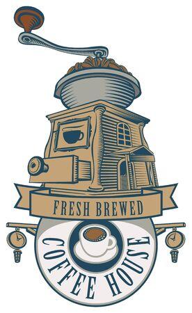 chocolatería: emblema para un café o un restaurante con un molinillo de café y granos