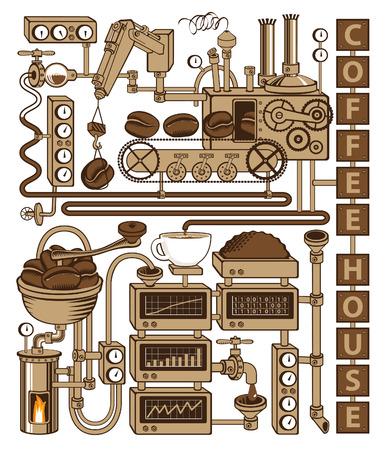 fliesband: Anlage mit F�rderkaffeeproduktion Illustration