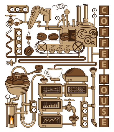 stove pipe: plant with conveyor coffee production Illustration