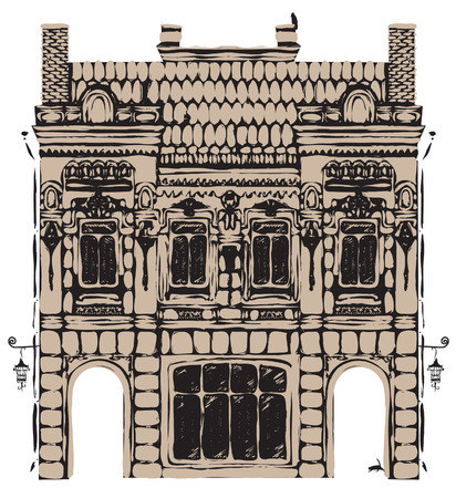 gateway: vector drawing of the old European two-storey house Illustration