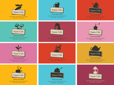 brown sugar: set of business cards on the theme of tea and coffee Illustration
