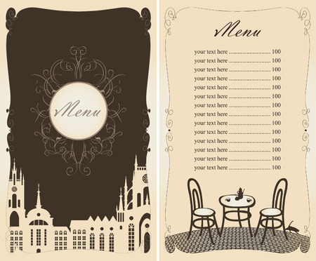 price list: menu with a price list and the old town on the cover Illustration