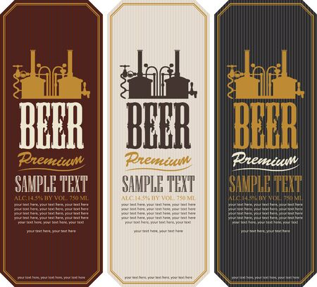 traditionally: Beer labels with the machine to make beer Illustration
