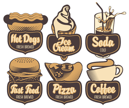 hot dog label: set emblems with coffee fast food pizza and ice cream in retro style Illustration