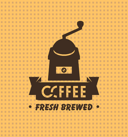 savor: vector banner with fabric texture and an emblem of coffee grinder Illustration