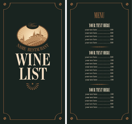 prices: wine menu with vineyard scenery on a black background