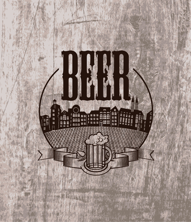 beer texture: emblem for pub with a beer and the old town on the background of wood texture Illustration