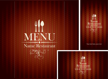 design Cover menu and business card with cutlery for restaurants