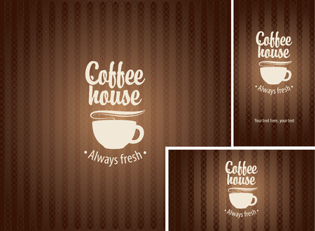 savor: banner and business cards with a cup of coffee on a brown background