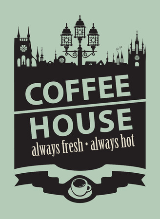 coffee house: menu for coffee house with a picture of the old town