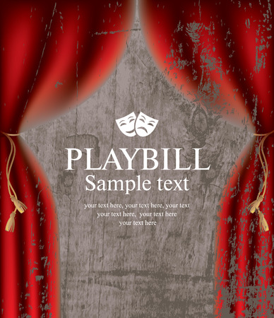 playbill with the scenes on the background of wood texture