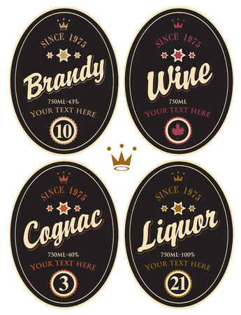 oval  alcohol: set of retro labels for various alcoholic beverages