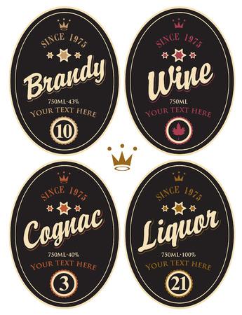 alcoholist: set van retro etiketten voor verschillende alcoholische dranken