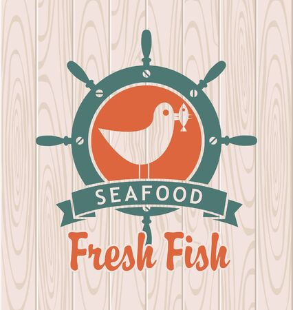 marine industry: emblem for seafood with a steering wheel, a seagull with a fish in its beak