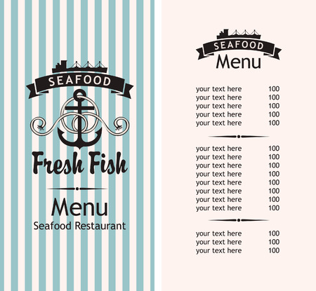 marine industry: seafood menu for the restaurant with an anchor and a ship