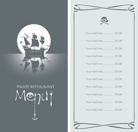 pirate flag: vectors menu with pirate sailing ship and the Jolly Roger