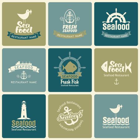mariscos: conjunto de logos sobre el tema de los mariscos en estilo retro