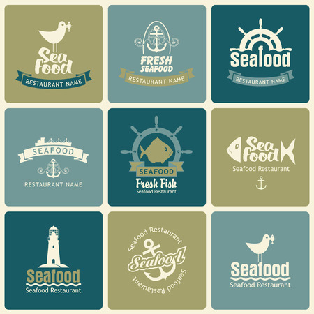 set of logos on the theme of seafood in retro style