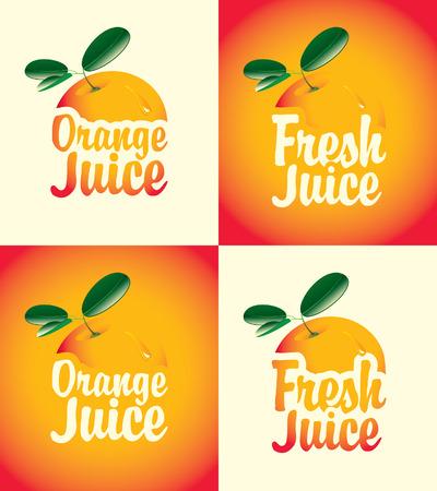 jugo de frutas: conjunto de banners para el zumo de naranja natural con una imagen Vectores