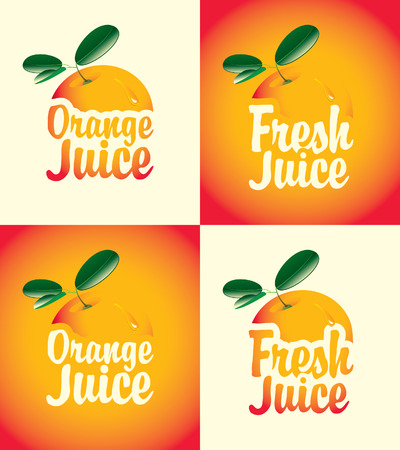 set of banners for fresh orange juice with a picture