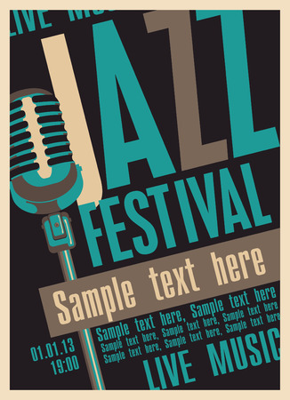 Poster for the jazz festival with a retro microphone Çizim