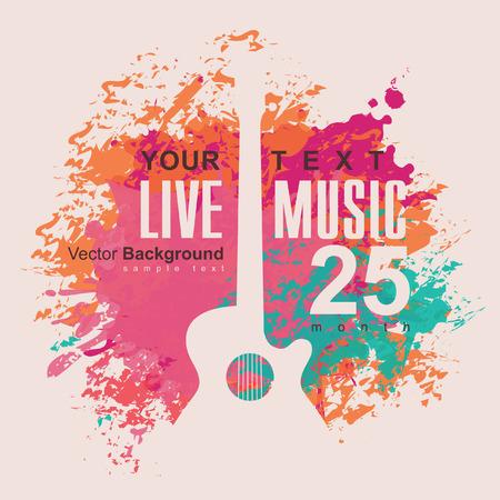 Banner mit einer akustischen Gitarre auf Grunge Farbe Hintergrund Standard-Bild - 39568599