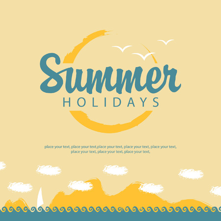banner summer holidays with sea sun and sailing  イラスト・ベクター素材