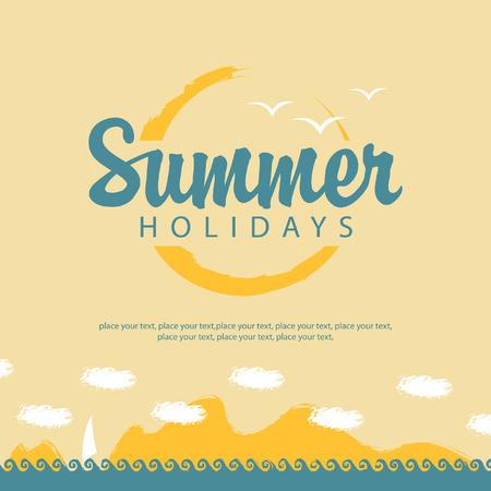 de zomer: banner zomervakantie met zee zon en zeilen