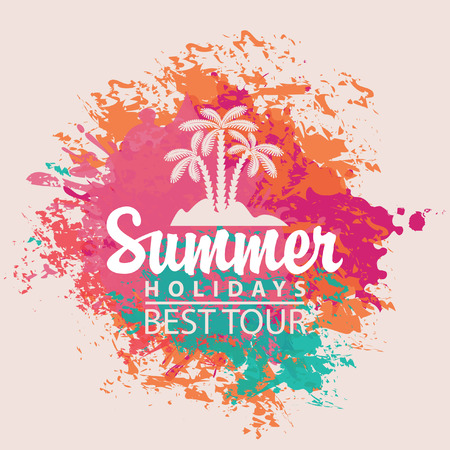 Travel banner with the inscription on the background Summer holiday color splash Vector
