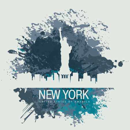 silhouette america: banner with of New York City Statue of Liberty