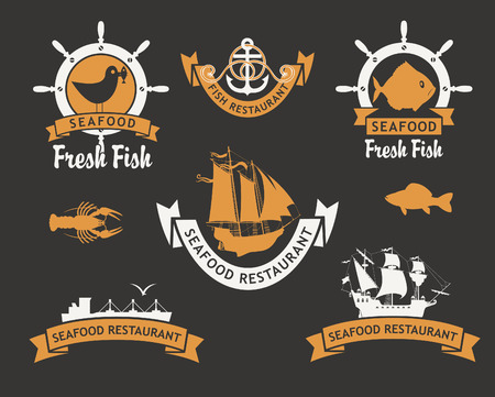 set of for restaurants and seafood stores with the image of fish and ships Vector