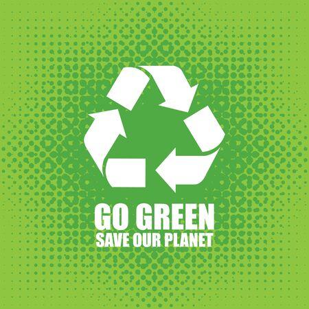 Go Green Eco Tree Recycling Concept Vector