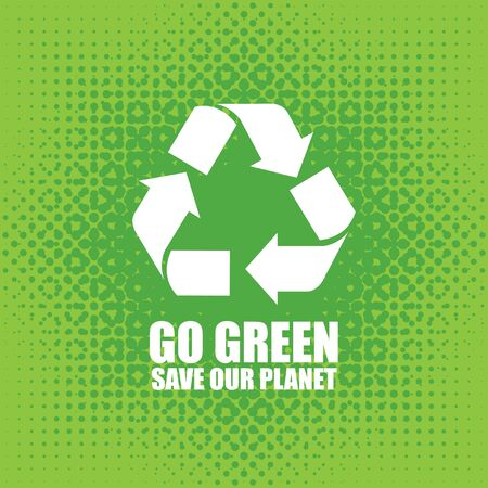 recycle symbol vector: Go Green Eco Tree Recycling Concept