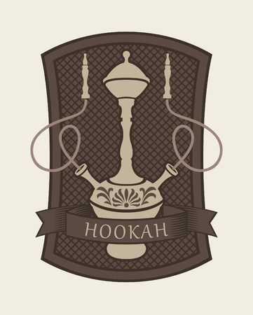 hookah: Emblem with a hookah for a cafe or restaurant
