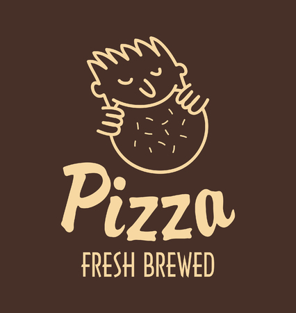italian sausage: logo for pizza restaurant with a pattern that the man eating pizza